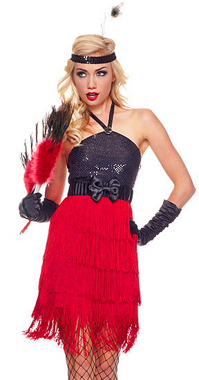 Black And Red Flapper Dress Fiery red flapper costume