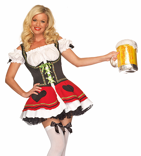 This Lovely Highly Detailed  Bavarian Beauty  German Beer Girl Costume features a Red White and Black Peasant Top Dress with Pink Flower Lace Trimming ...  sc 1 st  Forward Edge & Bavarian Beauty Costume